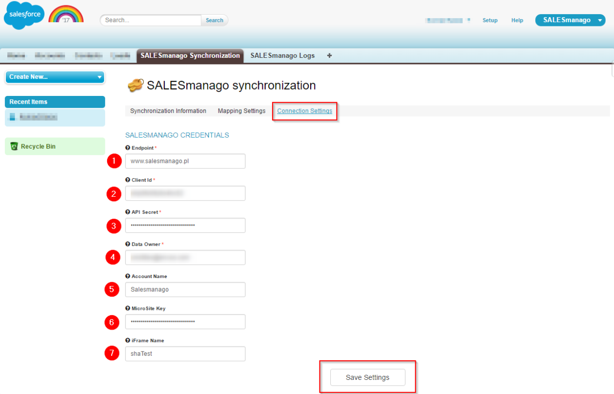 Integration with Salesforce – configuration of